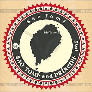 Vintage-Label-Aufkleber Karten von Sao Tome und Principe - Vektorgrafik-Design
