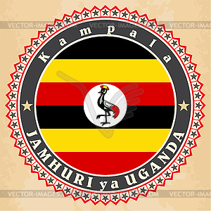 Vintage-Label-Karten von Uganda-Flagge - Vektor-Design