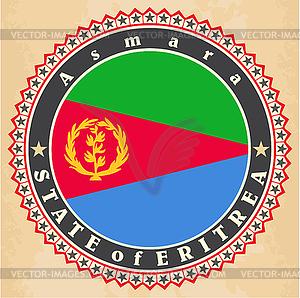 Vintage-Label-Karten von Eritrea Flagge - Vector-Bild