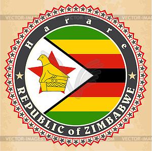 Vintage-Label-Karten von Simbabwe Flagge - Vektor-Clipart / Vektor-Bild
