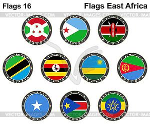 Flaggen der Welt. Ostafrika - Stock Vektorgrafik