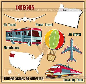 Flache Karte von Oregon in den USA für Flugreisen mit dem Auto ein - Vektor-Illustration