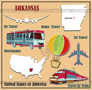Flache Karte von Arkansas in den USA für Flugreisen mit dem Auto - Vektor-Illustration