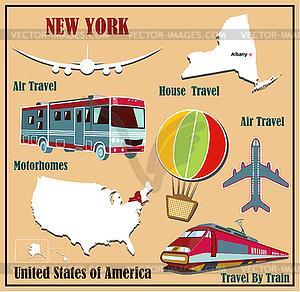 Flache Karte von New York in den USA für Flugreisen mit dem Auto - Vektor-Illustration
