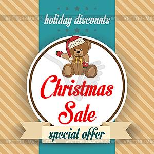 Weihnachten Verkauf Design mit Teddybär - Vektorgrafik-Design