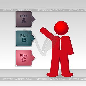 Geschäftsmann zeigt Business-Strategie - farbige Vektorgrafik