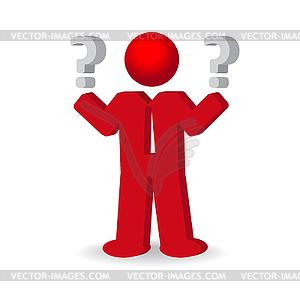 Business-Mann, Person mit Fragezeichen - vektorisiertes Design