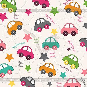 Nahtloser Hintergrund mit Autos - Vektor-Clipart EPS