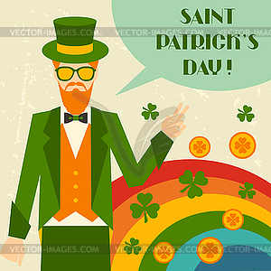 St. Patrick `s Day mit Hipster-Kobold - Vektorgrafik-Design