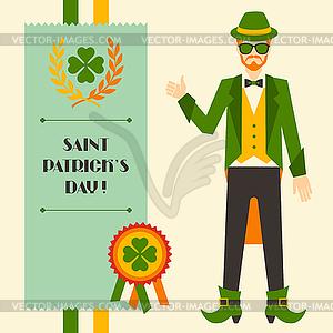 St. Patrick `s Day mit Hipster-Kobold - Vektor-Clipart