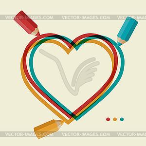 Valentinstag Hintergrund mit Farbstift und - Royalty-Free Clipart