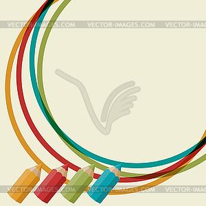 Kreative Hintergrund mit Farbstiften - Stock Vektor-Bild