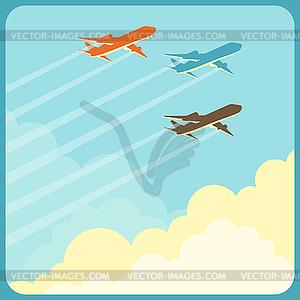 Flugzeuge fliegen im Himmel über Wolken - Vektor-Clipart / Vektorgrafik