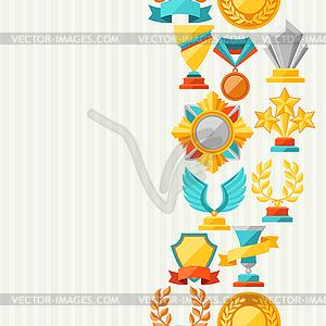 Nahtlose Muster mit Trophäe und Auszeichnungen - Vektor-Clipart EPS