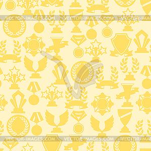 Nahtlose Muster mit Trophäe und Auszeichnungen - farbige Vektorgrafik