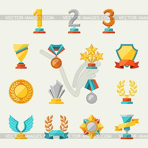Trophy und Auszeichnungen Icons - vektorisierte Grafik