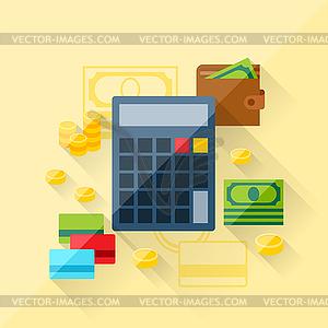 Konzept der Kredit-Rechner im flachen Design-Stil - Vektorgrafik-Design