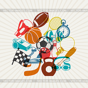 Hintergrund mit Sport-Symbole - Clipart