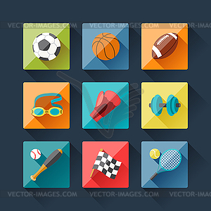 Sport-Symbole in flachen Design-Stil Set - Stock-Clipart