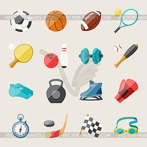 Satz von Sport-Symbole in flachen Design-Stil - Royalty-Free Clipart