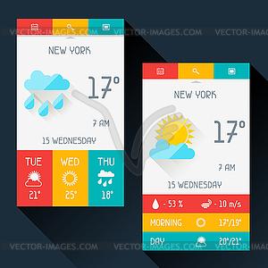Wetter Widget in flachen Design-Stil - vektorisierte Grafik