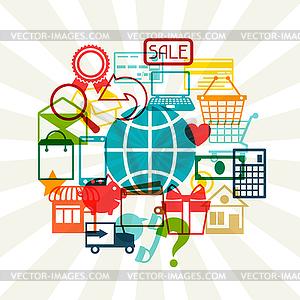 Internet-Shopping-Konzept-Hintergrund - Vektor Clip Art