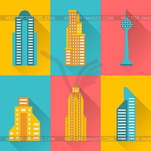 Stadtansicht Icon-Set von Gebäuden - Stock-Clipart