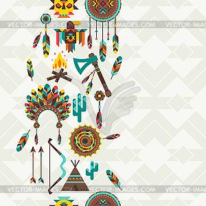 Ethnische nahtlose Muster im einheimischen Stil - Vektor-Illustration