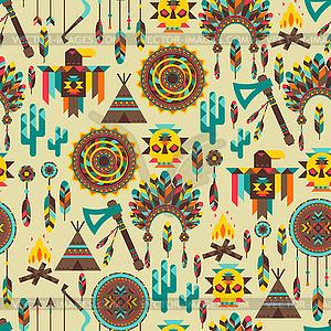 Ethnische nahtlose Muster im einheimischen Stil - Vektor-Clipart / Vektor-Bild