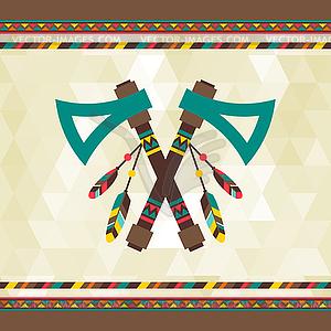Ethnische Hintergrund mit Tomahawk in nazi-Design - Stock Vektor-Clipart