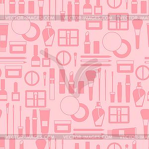 Nahtlose Hintergrund mit Kosmetik-Symbole - vektorisiertes Design