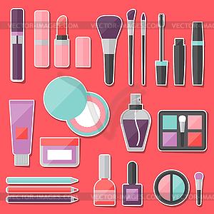 Set von farbigen Kosmetik Aufkleber Symbole - Stock Vektorgrafik