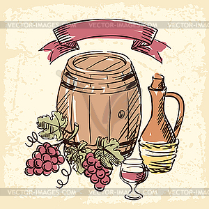 Wein-Jahrgang - Vektor-Skizze