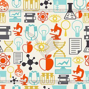 Wissenschaft nahtlose Muster im flachen Design-Stil - vektorisiertes Bild