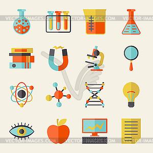 Wissenschaft Symbole im flachen Design-Stil - Vektorgrafik-Design