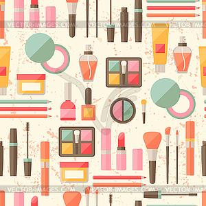 Nahtlose Grunge Hintergrund mit Kosmetik Flach Symbole - farbige Vektorgrafik