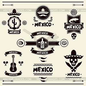Mexican Satz von Etiketten und Aufkleber mit Symbolen - Vektor-Clipart / Vektor-Bild