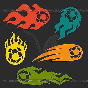 Set von Elementen Feuer Fußball-Bälle für Design - Vector-Illustration