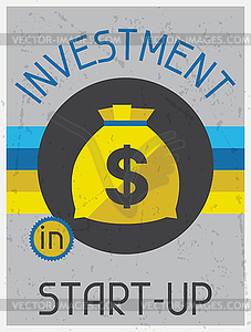 Investitionen in Start-up. Retro Poster flaches Design - Vektor-Clipart / Vektorgrafik