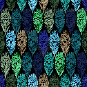 Nahtlose Muster mit Pfauenfedern - Stock Vektor-Bild