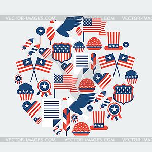 Vereinigte Staaten von Amerika Independence Day nahtlose - farbige Vektorgrafik