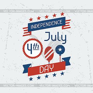 Vereinigte Staaten von Amerika Independence Day Gruß - farbige Vektorgrafik