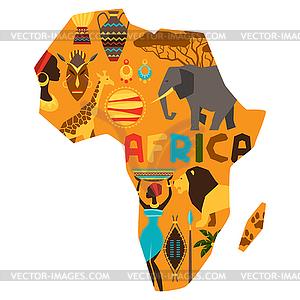 Afrikanischen ethnischen Hintergrund mit Karte - Stock Vektor-Bild