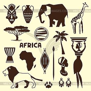 Set von afrikanischen ethnischen Stil-Ikonen in flachen Stil - Vector-Clipart / Vektorgrafik