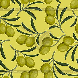 Nahtlose Muster mit frischen, reifen Olivenzweige - Stock Vektorgrafik