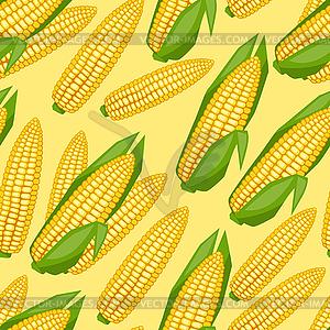 Nahtlose Muster mit frischen, reifen Maiskolben - Vektorgrafik