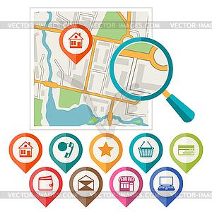 Stadtplan abstrakten Hintergrund mit Satz von verschiedenen - vektorisierte Abbildung