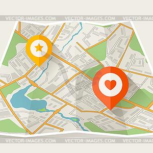 Abstrakte Stadt gefaltete Karte mit Ortsmarken - vektorisiertes Design