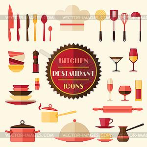 Küchen-und Restaurant-Icons. Set Utensilien - Vektor-Illustration