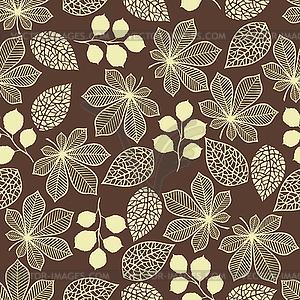 Nahtlose Muster mit stilisierten Blätter im Herbst - farbige Vektorgrafik